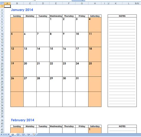 Calendar 2014 Templates by 2014 Calendar Notes Free 2014 Excel Calendar Templates