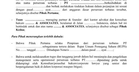 contoh surat resmi perjanjian konsultasi bantuan advokasi hukum