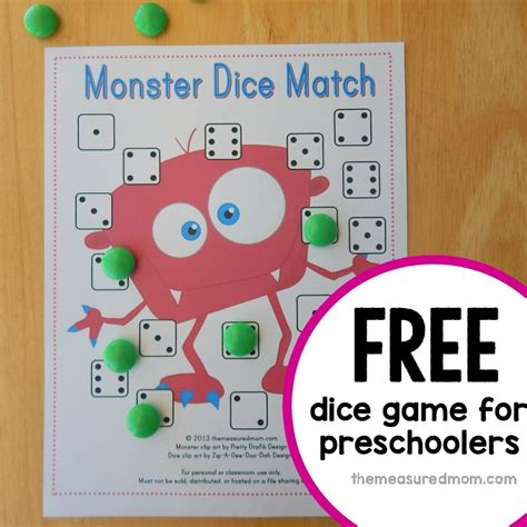 printable dice games for kindergarten free preschool math game monster dice match the