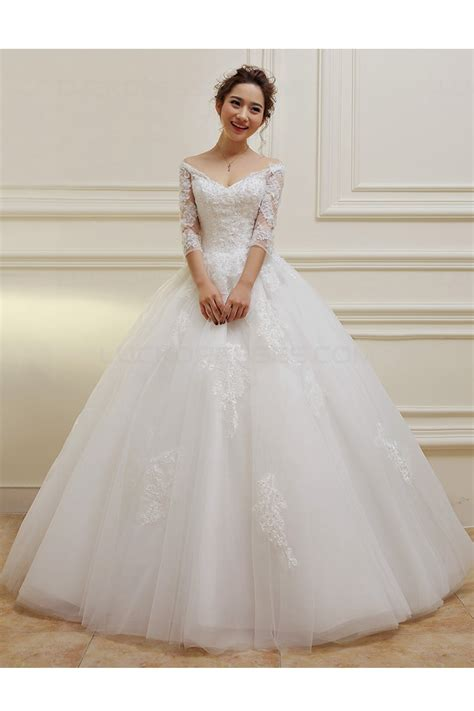 Sleeve V Neck Dress 3 4 length sleeves v neck lace wedding dresses bridal