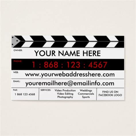 Filmmaker Business Card Template by Production Slate Business Card Zazzle