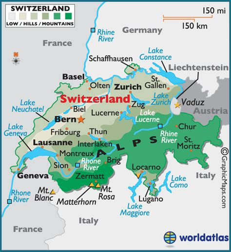 switzerland map in world map switzerland large color map
