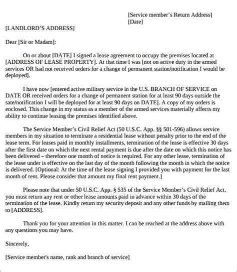 apartment lease termination letters sample templates