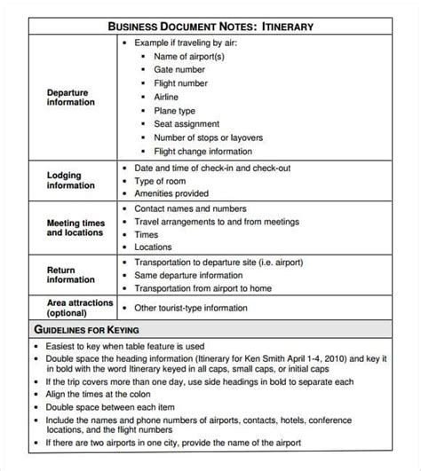 12 Itinerary Templates Word Excel Pdf Formats Itinerary Template Word