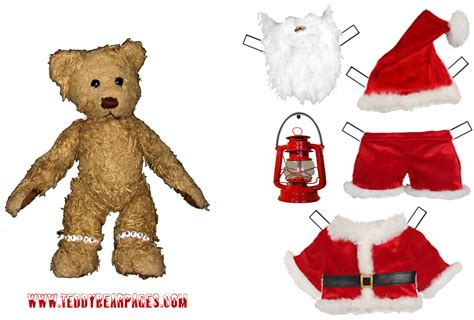 free printable santa paper dolls teddy bear santa clause paper doll to print out and play with