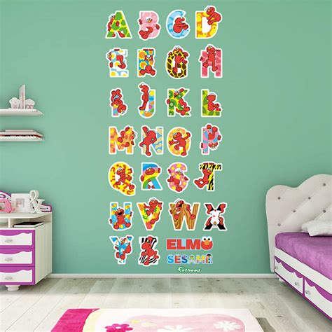 elmo bedroom decor elmo illustrated alphabet collection wall decal shop