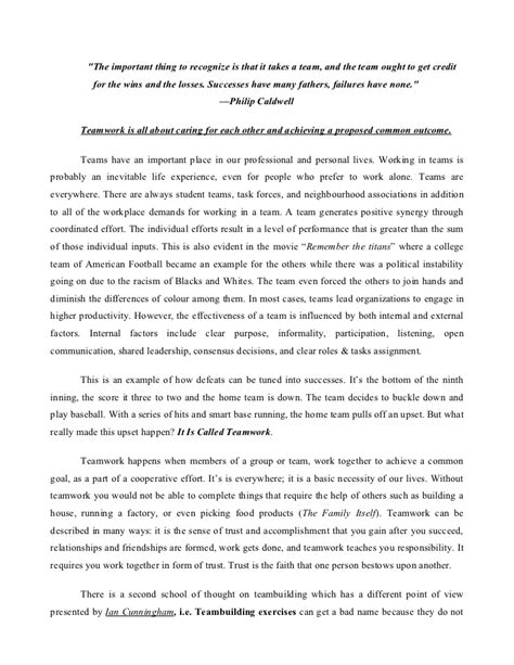 Work In School Essay by Teamwork Essay