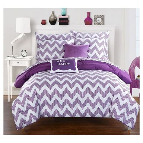 Chevron Print Bedding Sets Foxville Pinch Pleated And Ruffled Chevron Print Reversible Multi Comforter Set Chic