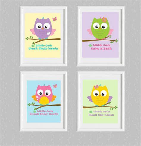 owl bathroom sets owl bathroom set of 4 bathroom rules flushbrush washowl