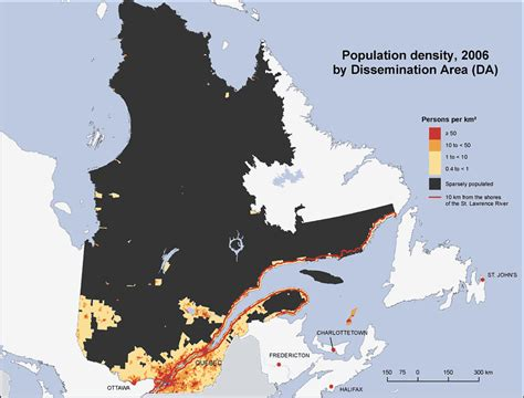 canadian map population density population density qu 233 bec 2006