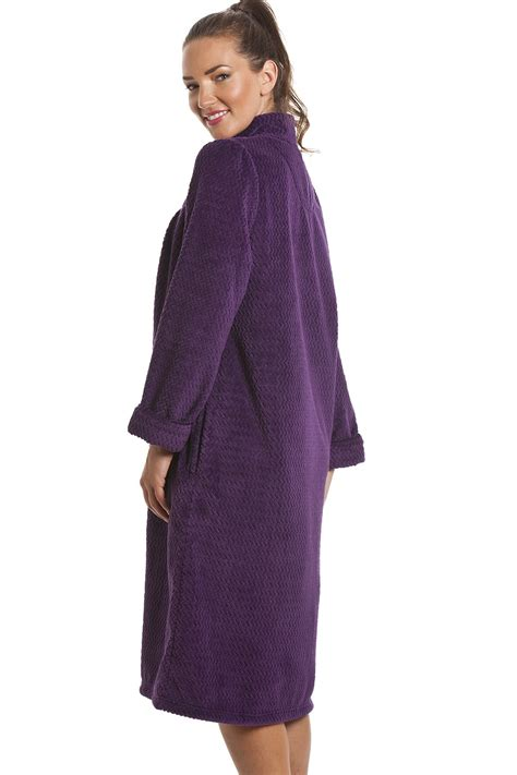 house coats soft fleece purple zip front house coat