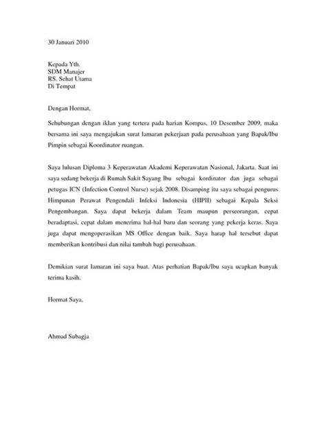 contoh surat lamaran kerja perawat ben contoh
