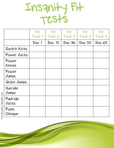 printable calendar quizzes insanity printable fit test search results calendar 2015