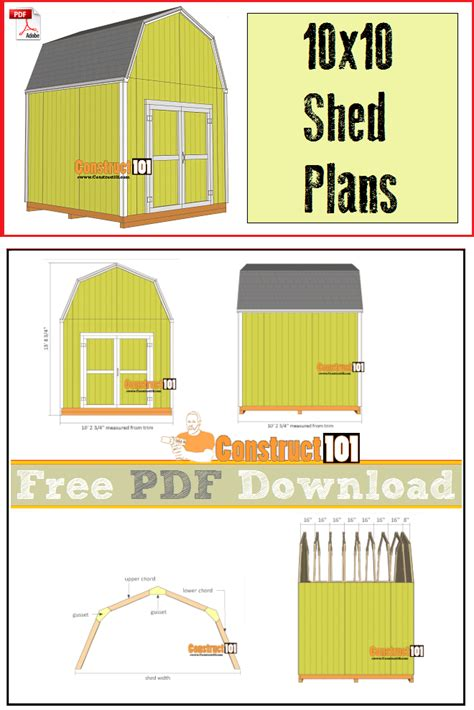 Shed Design Software Free by 10x10 Shed Plans Gambrel Shed Pdf Construct101