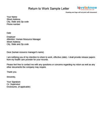 Exles Of A Return To Work Letter Maternity Return To Work Letter From Employer Template