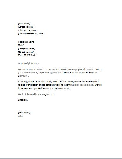 Bid Acceptance Letter Editable Word Document Template Word Excel Templates Bid Letter Template