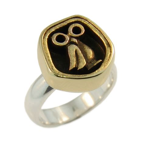sterling silver 9ct yellow gold brass owl ring
