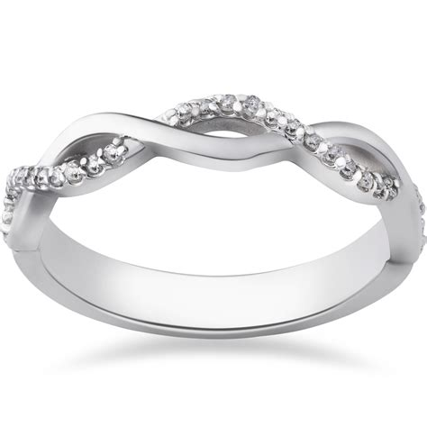 1 8ct infinity wedding ring 10k white gold ebay