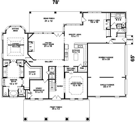 6 bedroom luxury house plans luxury style house plans 4347 square foot home 2 story