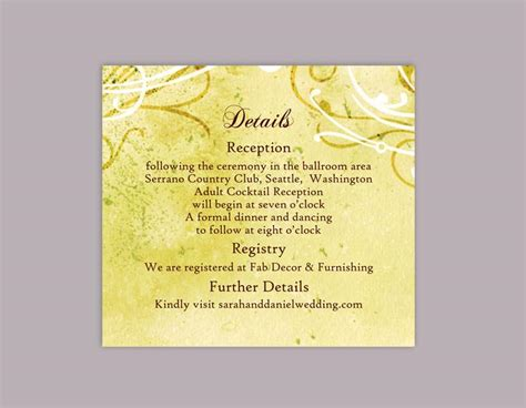 Enclosure Cards Details For Wedding Free Template by Diy Rustic Wedding Details Card Template Editable Word