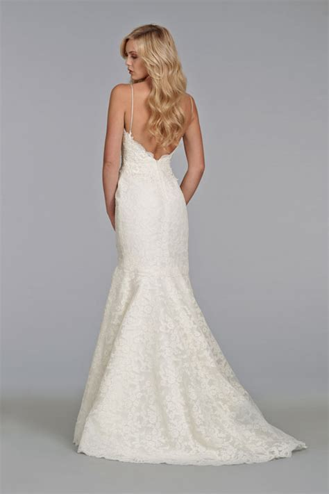 Lace strapless sweetheart wedding dress with elongated bodice and