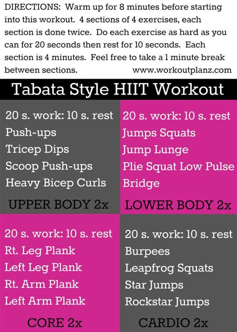 tabata style hiit strength i workout