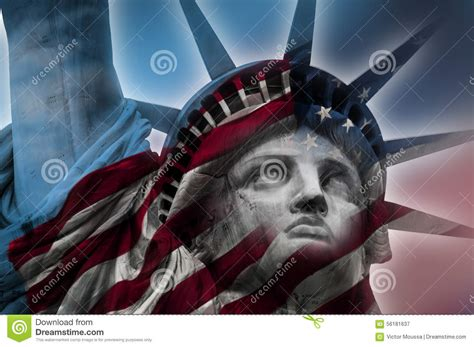 liberty star exposed statue of liberty and the american flag stock photo