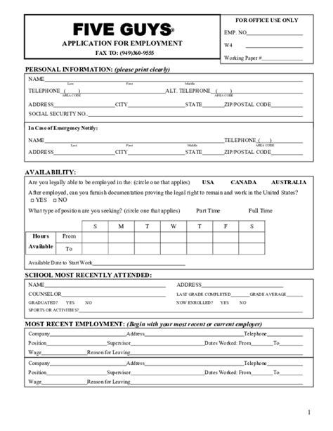 Printable Job Application For Five Guys | free printable five guys job application form