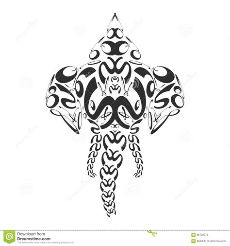 vector abstract monochrome elephant ganesh illustration