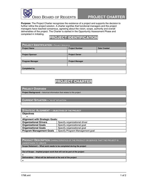 project charter template pdf project charter template in word and pdf formats