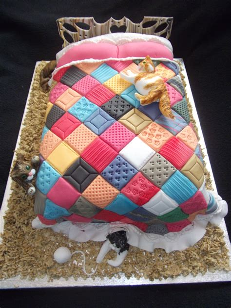 Patchwork Quilt Cake - fondant connoisseurs of sleep cake decorating