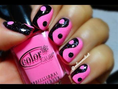 pink & black yin yang nail art tutorial youtube