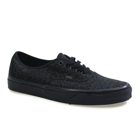 black pattern vans vans authentic lo pro womens black pattern lace trainers