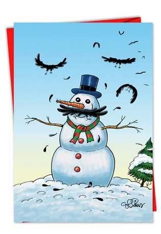 snowman stache funny cartoon christmas card