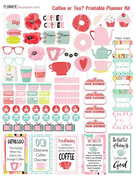 coffee planner stickers printable planner kit printable planner stickers kit watercolor