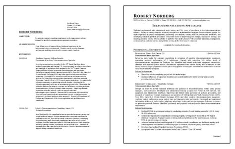 telecommunications resume exle