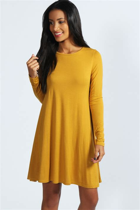 ladies swing dresses boohoo womens ladies april long sleeve swing dress ebay