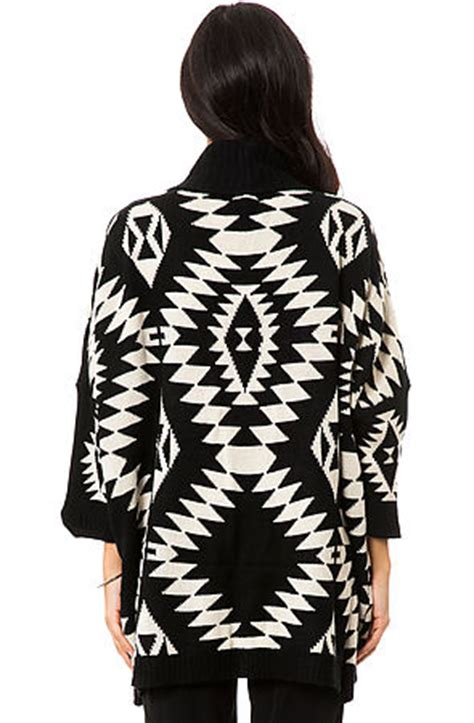 Black White Sweater Tribal cardigan the tribal sweater in black white