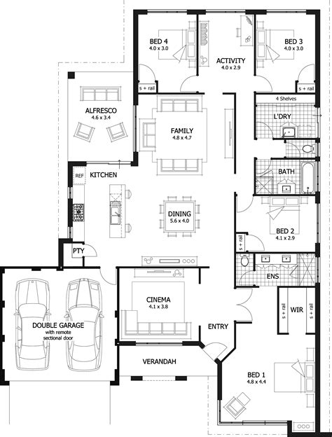 4 room floor plan 4 bedroom house plans home designs celebration homes