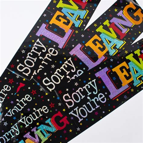 Wedding Banners At Card Factory by Holographic Black Foil Sorry You Re Leaving Banners