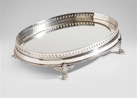 Oval Tray oval mirrored silver tray trays