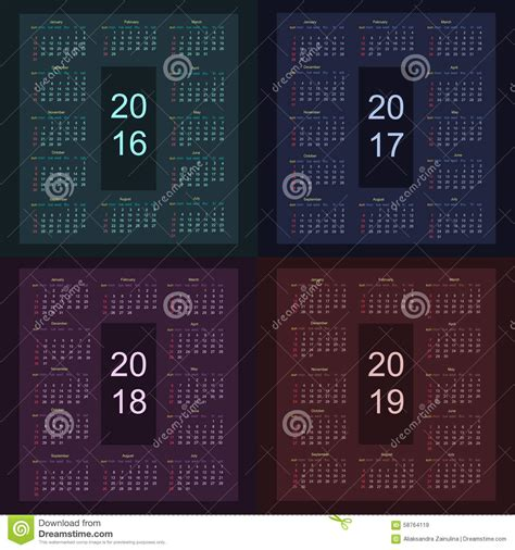 Calendar 2018 Starting Sunday Calendar 2016 2017 2018 2019 Starting From Sunday Stock