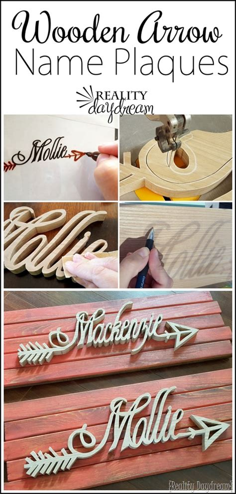 Handmade Name Plaques - personalized wooden arrow name plaque tutorial
