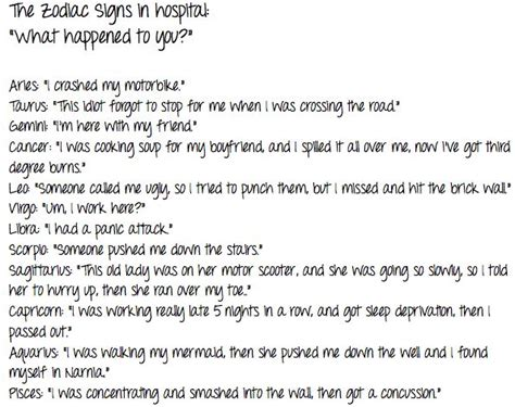 Funny Zodiac Memes - the signs in the hospital quot what happened to you quot funny