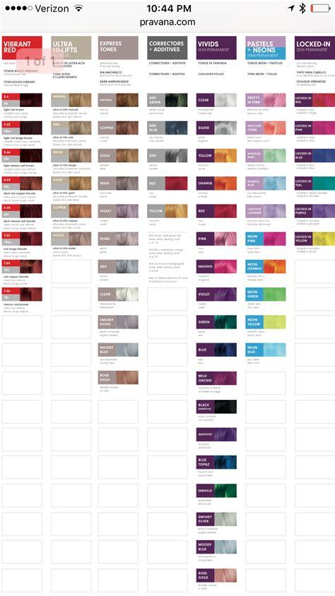 pravana hair color pravana color chart pdf