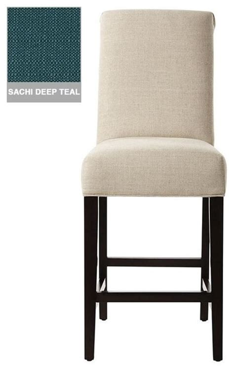 Roll Back Counter Stool by Custom Roll Back Counter Stool Expresso Sachi Teal