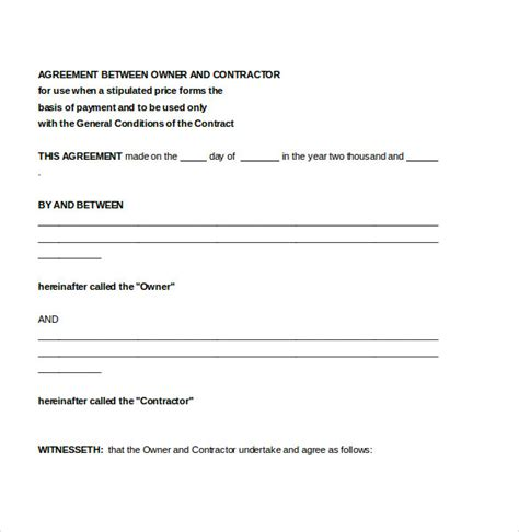 simple contractor agreement template contractor agreement template 13 free word pdf