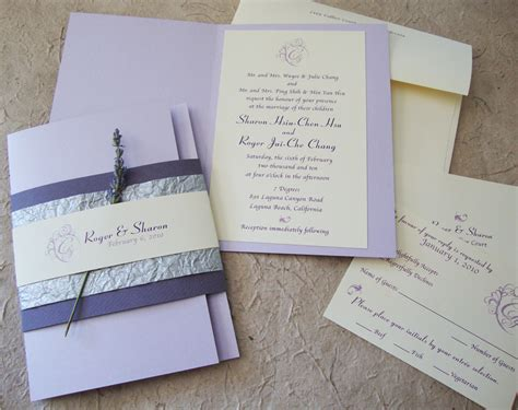 Wedding Invitations Lavender by Custom Wedding Invitation Lavender Booklet Suite