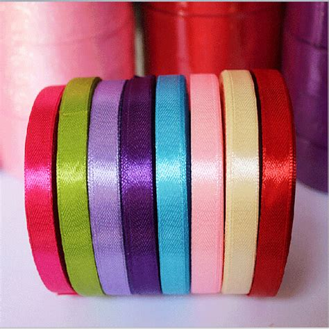 upholstery ribbon 25 yards roll 6mm width colorful silk satin ribbon wedding