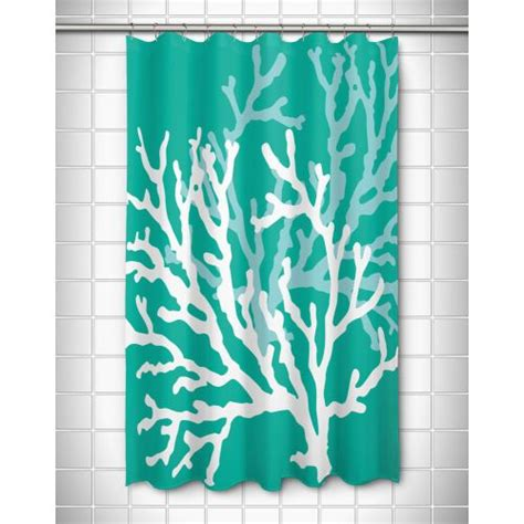 Coral And Aqua Curtains Island Coral Duo On Aqua Shower Curtain